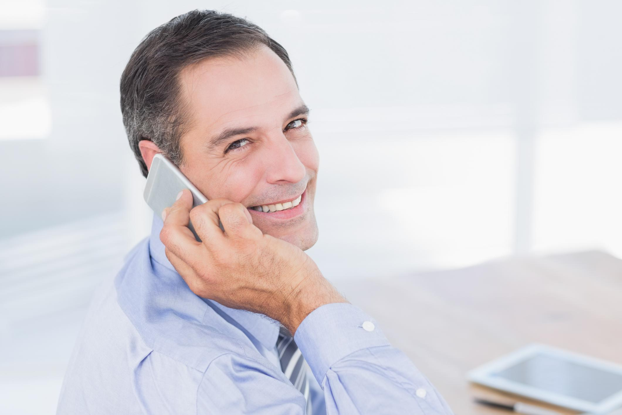 This is a picture of a man having a phone call.